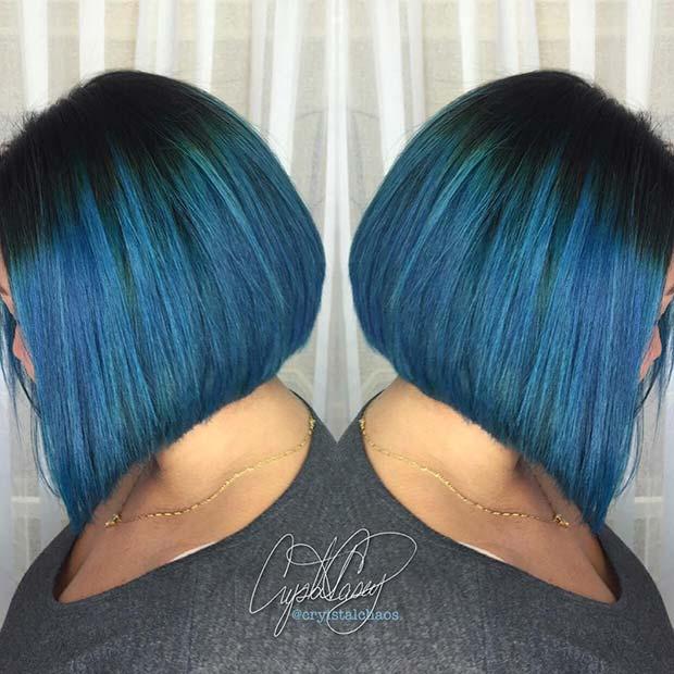 Black to Blue Ombre Bob