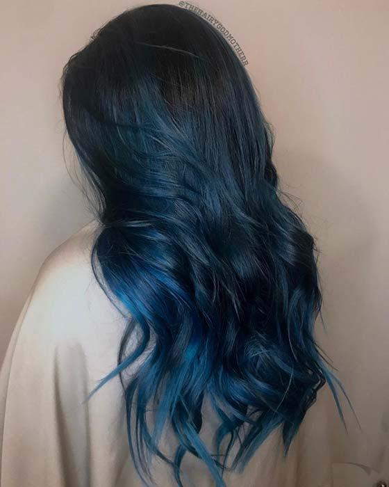 Black to Dark Blue Ombre Hair Idea