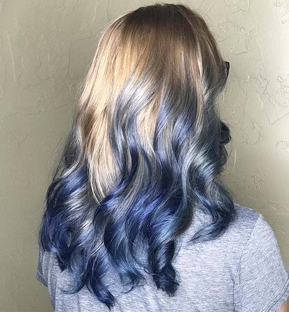 Blonde to Navy Ombre Hair