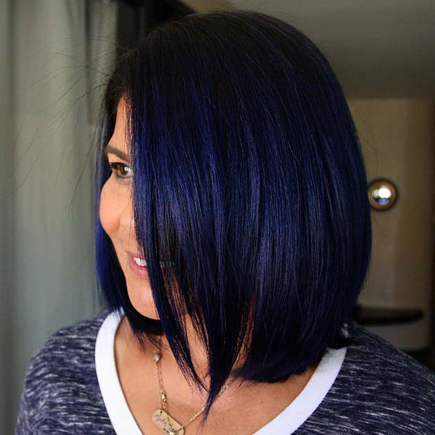 Blue Black Long Bob