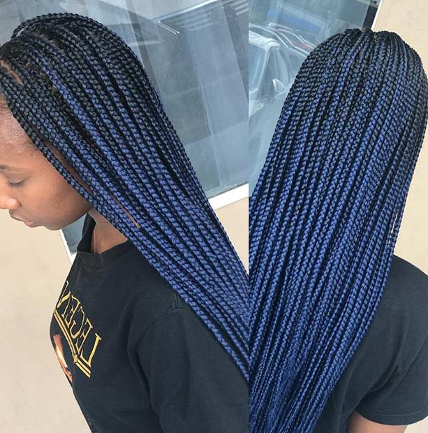 Blue Black Box Braids