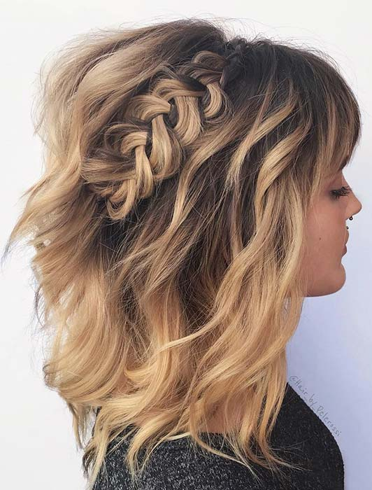 Boho Waves and Braid for Short Hair