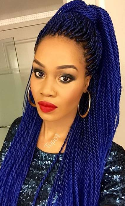 Bold, Blue Senegalese Twists