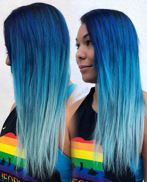 Bold Blue to Light Blue Ombre