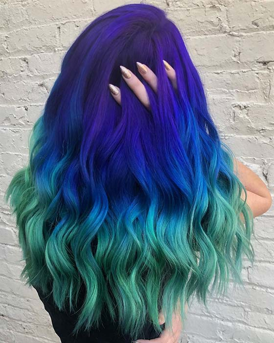 Purple to Blue to Teal Ombre Hair