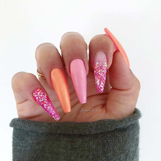 Pink and Orange Long Coffin Nails