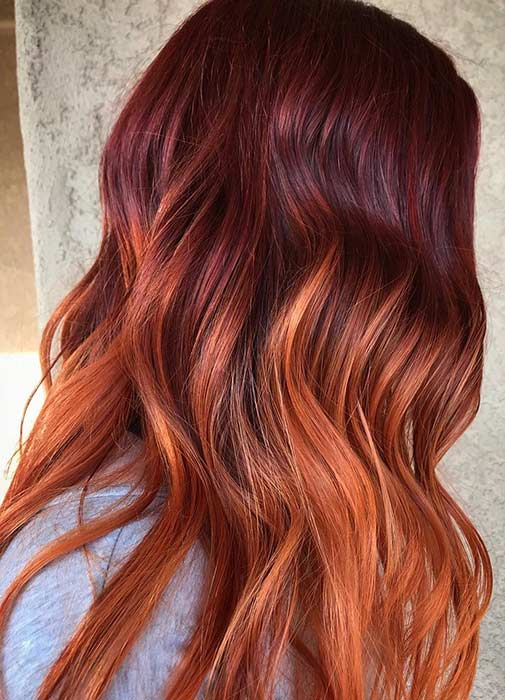 Burgundy to Copper Ombre Hair
