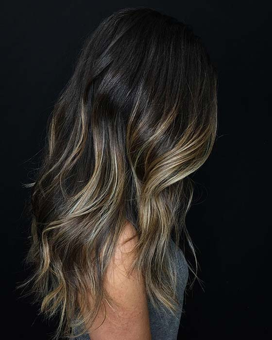 Caramel Highlights and Layers on Dark Hair