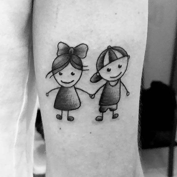 Cute Brother and Sister Tattoo Idea