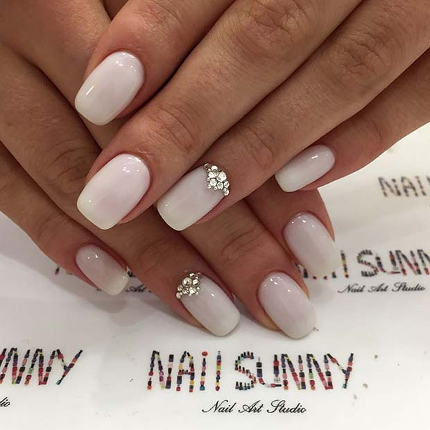 Simple Wedding Nails with Rhinestones