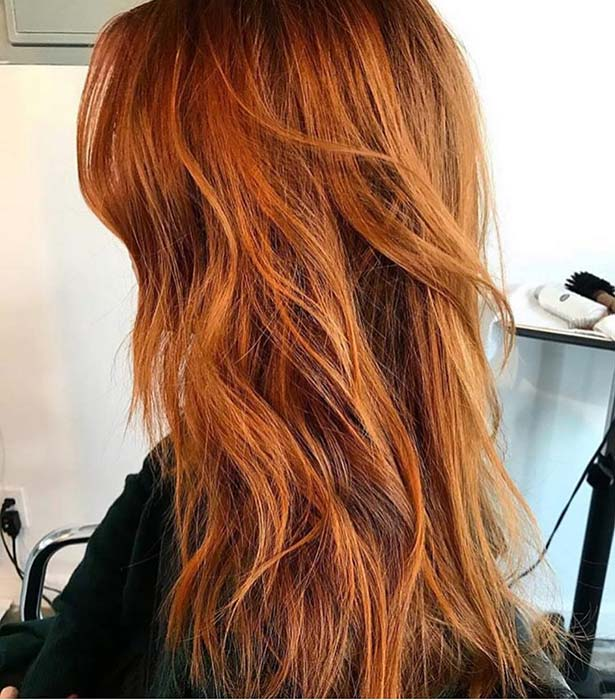 Coppery Layered Hair