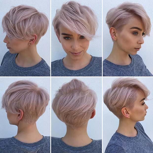 Light Pink Haircut with Side Bangs