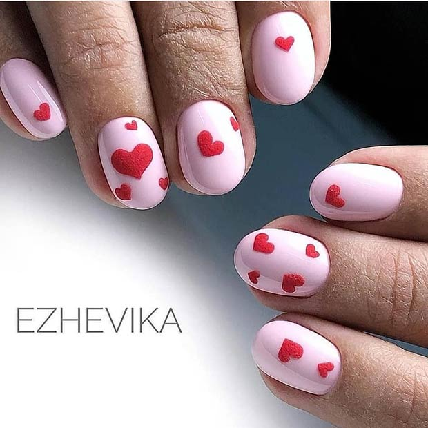 Cute Pink Nails with Red Hearts
