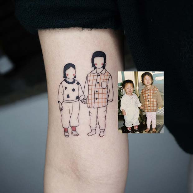 Cute Portrait Tattoo Idea for a Brother and Sister
