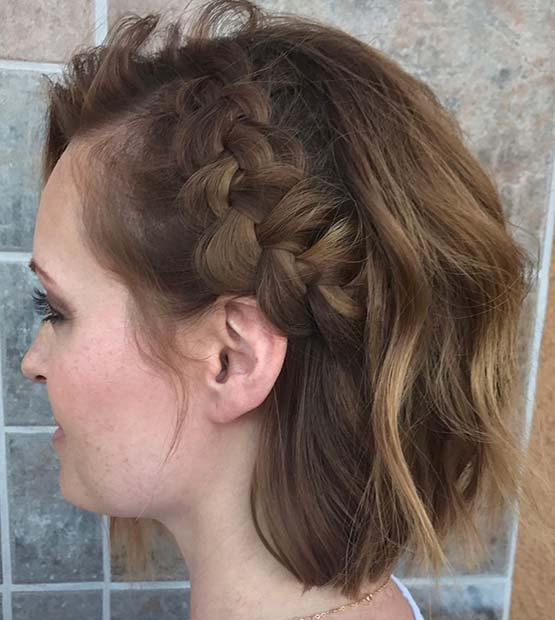 Cute Side Dutch Braid for Short Hair