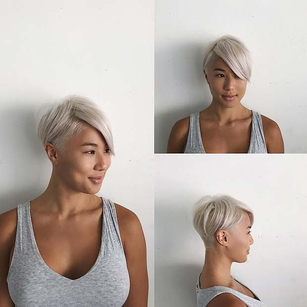 Platinum Blonde Short Hair + Edgy Undercut