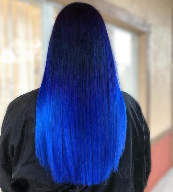 Electric Blue Ombre Hair