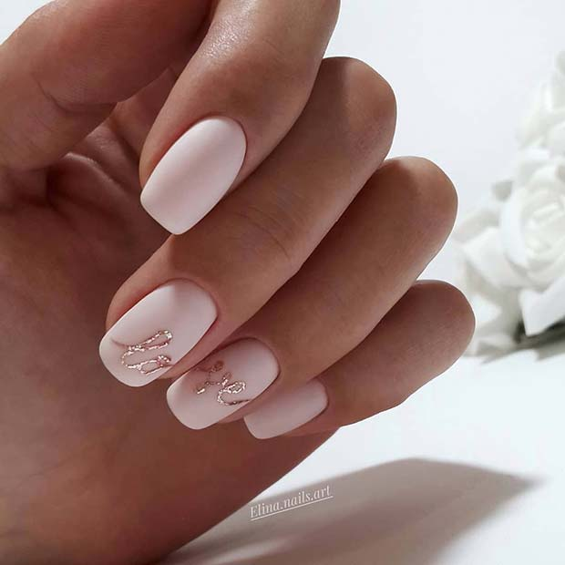 Elegant, Matte Love Nails for Brides