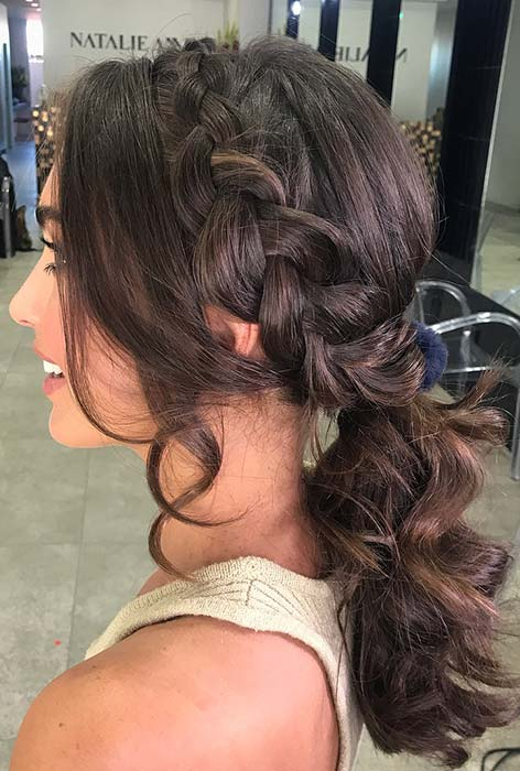 Elegant Side Braid and Curly Ponytail