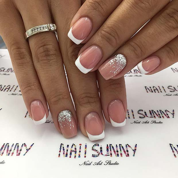 French Mani Nails with Silver Glitter