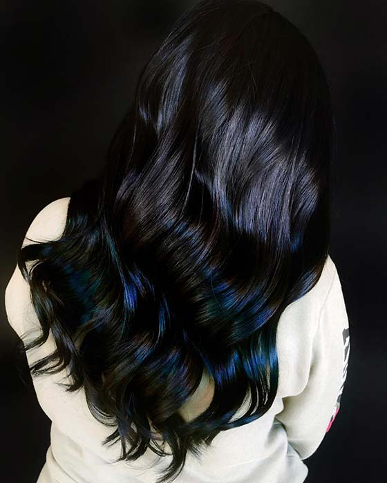 Blue Black Ombre Hair