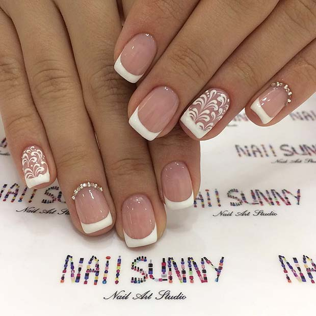 Glam French Manicure Idea for Brides