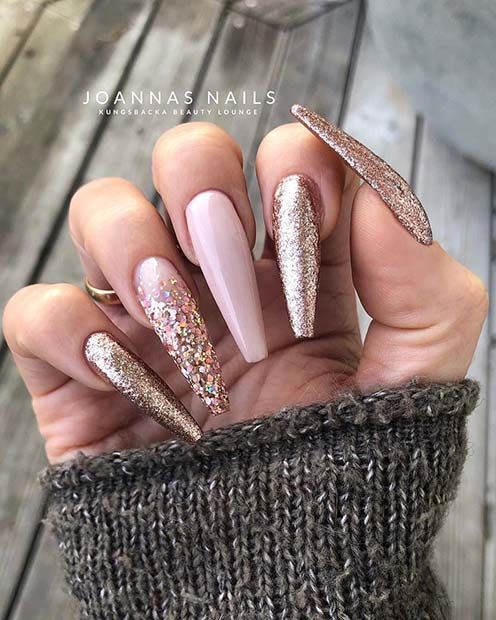 Nude Coffin Nails with Gold Glitter
