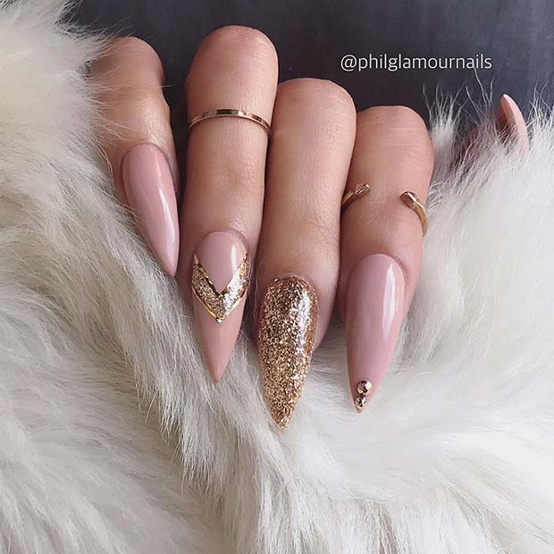 Nude Stiletto Nails with Gold Glitter