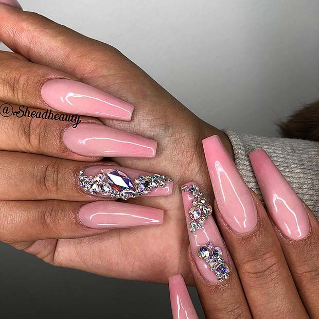 Glam Pink Coffin Nails with Rhinestones