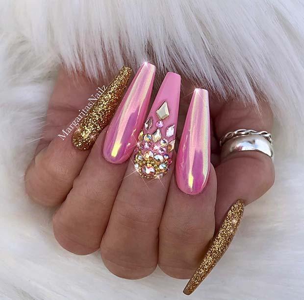 Glitter and Chrome Coffin Nails