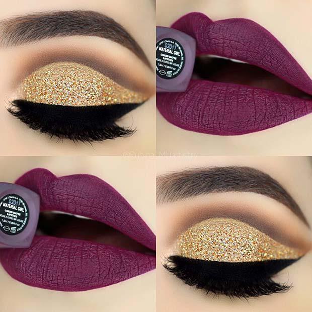 Gold Glitter Eyes and Purple Lips