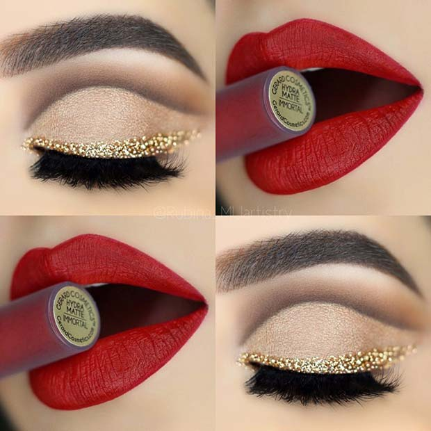 Gold Glitter Liner and Red Lips