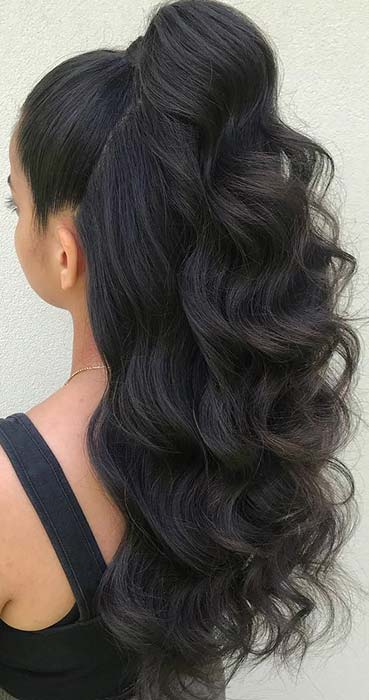 Half Up, Half Down Ponytail with Waves