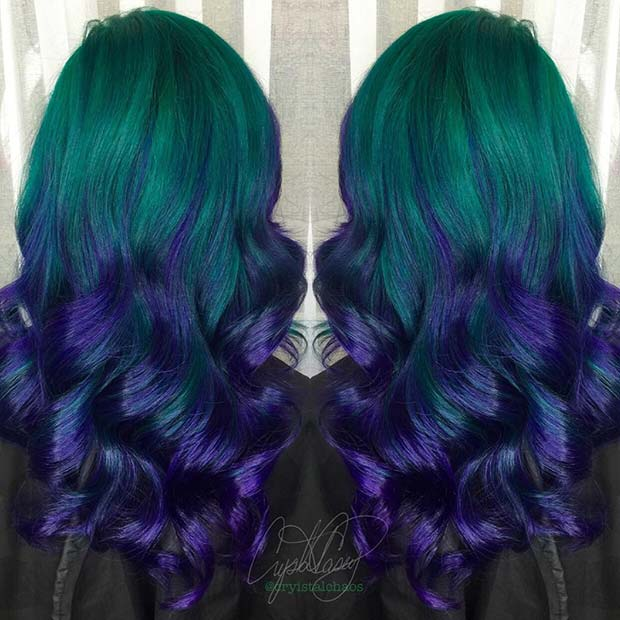 Green to Purple Ombre Hair
