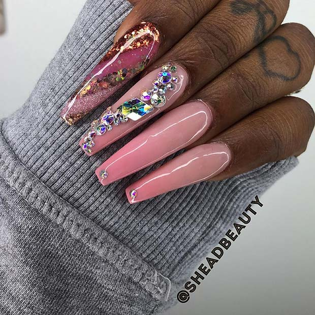 Long Coffin Nails with Crystals and Sparkle
