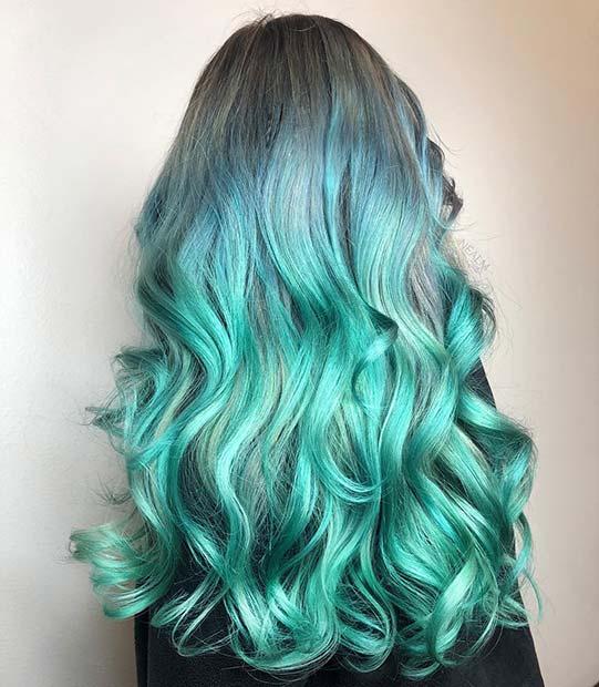 Long, Mermaid Ombre Hair