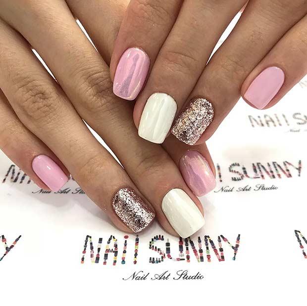Metallic Pink and White Nail Design