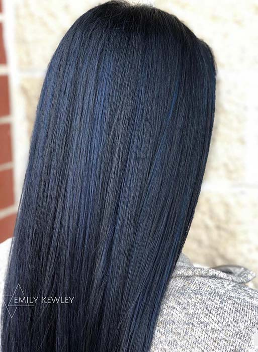 Midnight Blue Hair Color Idea