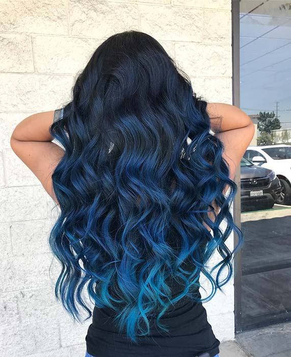 Navy Dark Blue Wandfarbe: 41 Bold And Beautiful Blue Ombre Hair Color Ideas