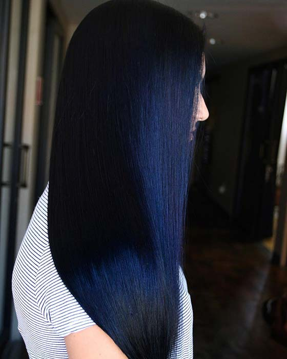 Night Sky Blue Hair Color Idea