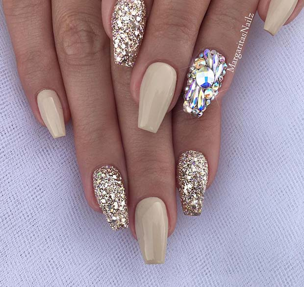 Nude Nails with Glitter and Rhinestones