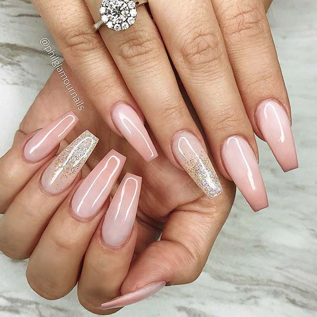 Long Nude Nails With Subtle Glitter