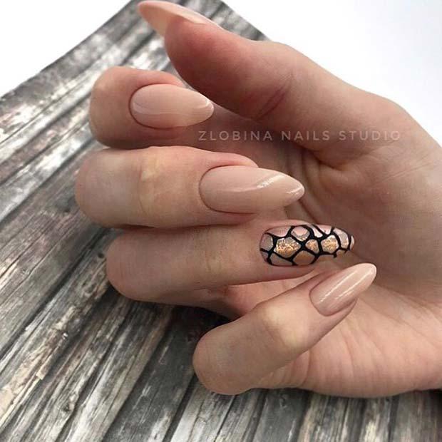Nude Nails and Animal Print