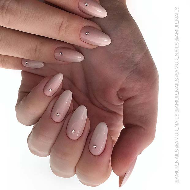 Nude Almond Nails with Rhinestones
