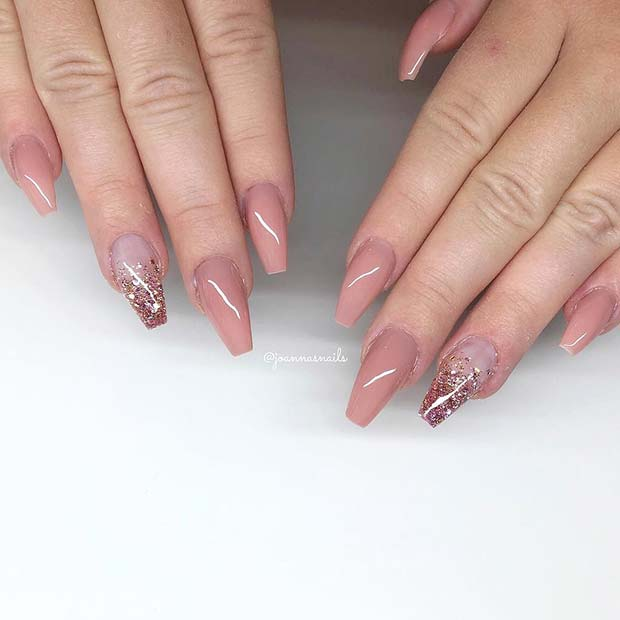 Nude Nails with Glitter Ombre Accent Nail