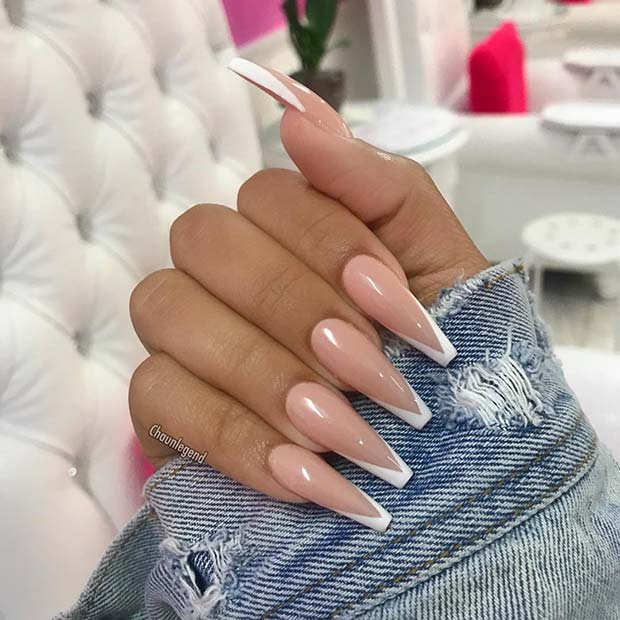 Long Nude Nails with White V Tips
