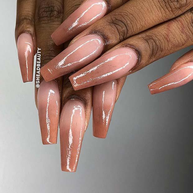 Dark Nude Ombre Nails