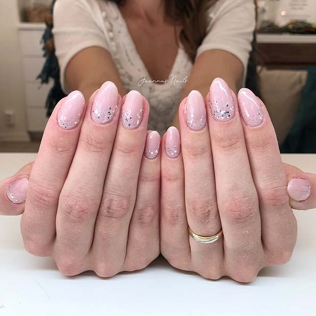 Nude and Silver Glitter Nails