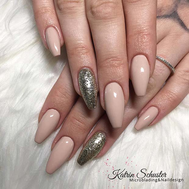 Nude and Gold Glitter Coffin Nails