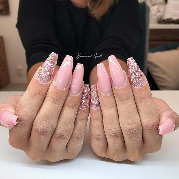 Nude Pink Nails and Sparkling Glitter